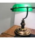 Banker Masa Lambası Eskitme Tabanlı Yeşil Camlı